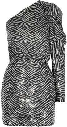 Alexandre Vauthier One-shoulder Zebra-print Sequined Tulle Mini Dress