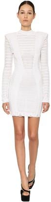 Balmain Striped Cotton Blend Knit Mini Dress