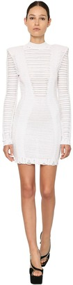 Balmain Striped Cotton Blend Knit Mini Dress