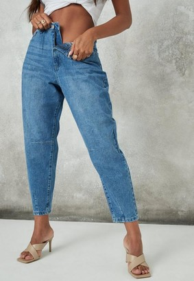 Missguided Blue High Rise Carrot Leg Jeans