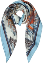 Emilio Pucci Feathers Print Silk Square Scarf