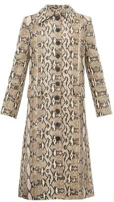 Givenchy Single Breasted Python Effect Leather Coat - Womens - Beige Print