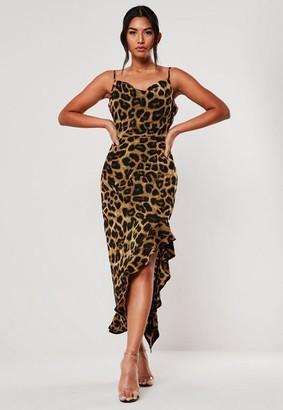 Missguided Brown Leopard Ruffle Side Cami Midi Dress
