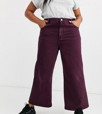 ASOS DESIGN Curve premium wide leg jeans in aubergine
