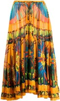 Jean Paul Gaultier Pre Owned 2000s feathers print drawstring skirt