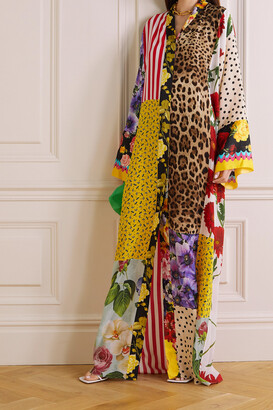 DOLCE & GABBANA - Patchwork Printed Silk Crepe De Chine Maxi Dress - Animal print