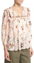 Kate Spade In Bloom Split-Neck Floral-Print Chiffon Top