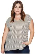 Lucky Brand Plus Size Linen Stripe Top