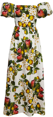 Borgo de Nor Juliet Lemon Blossom Poplin Maxi Dress