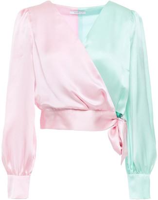 Olivia Rubin Abbie Cropped Two-tone Silk-satin Top