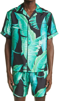 Amiri Banana Leaves Silk Button-Up Camp Shirt