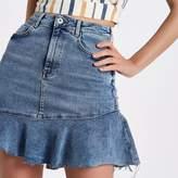 River Island Womens Mid Blue frill hem denim mini skirt