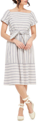 Gal Meets Glam Striped Square-Neck Short-Sleeve A-Line Midi Dress