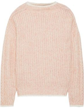 Line Ribbed Melange Cotton-blend Sweater