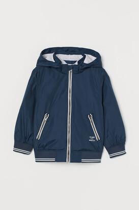 H&M Jersey-lined Nylon Jacket - Blue