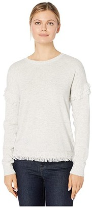 Vineyard Vines Drop Shoulder Fringe Sweater (Light Gray Heather) Women's Sweater