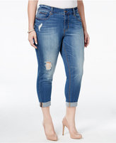 Melissa McCarthy Trendy Plus Size Light Blue Wash Ripped Girlfriend Jeans