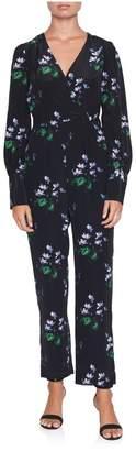 Les Rêveries Long Sleeve Floral Wrap Jumpsuit