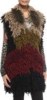 Etro Colorblock Twisted Weave & Fur Vest