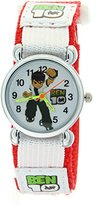 Ben 10 Fashion Cartoon Kids Children Girls Boys Red Fabric Nylon Velcro Strap Round Wrist Watches