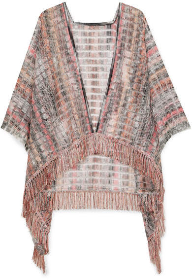 Missoni Fringed Crochet-knit Wrap - Pink