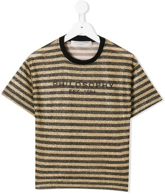 Philosophy Di Lorenzo Serafini Kids logo striped T-shirt