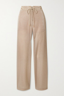 Lanvin Lace-up Lurex Wide-leg Pants - Beige
