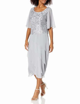 Le Bos Women's Embroidered Asymmetrical Tiered Long Dress