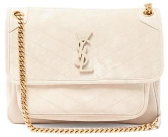 Saint Laurent Niki Medium logo Quilted-suede Shoulder Bag - Beige