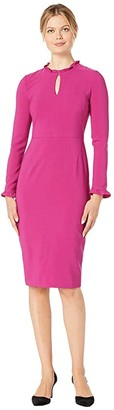 Maggy London Mystic Crepe Ruffle Neck Sheath Dress (Raspberry) Women's Dress