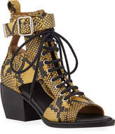Chloé Snake-Print Leather Lace-Up Sandals