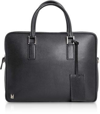Moreschi Printed Leather Briefcase w/ Shoulder Strap