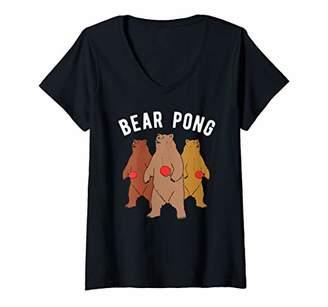 Womens Ping Pong Bear Animal Table Tennis V-Neck T-Shirt