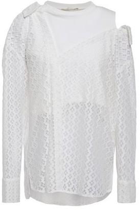 Maje Cold-shoulder Jersey-paneled Lace Top