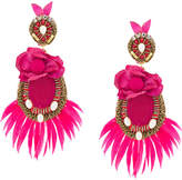 Ranjana Khan feathered earrings