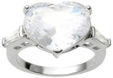 Journee Collection Tressa Collection Heart Cut Cubic Zirconia with Tapered Baguettes Engagement Ring in Sterling Silver