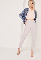 Missguided Vertical Zip Pocket Trousers Grey