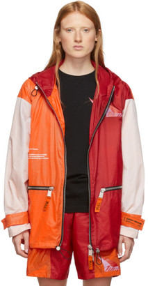 Heron Preston SSENSE Exclusive Orange and Red JUMP Hooded Windbreaker Jacket
