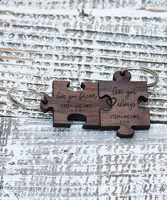 "Stamp Out Online Key Chains ""Walnut Wood"" - 'Love You Always' Personalized Key Chain Set"