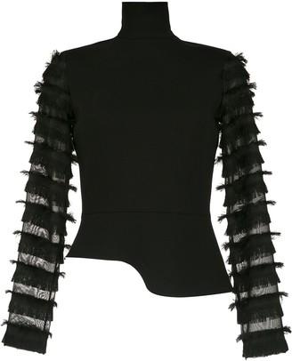 Gloria Coelho Fringed Long Sleeved Top