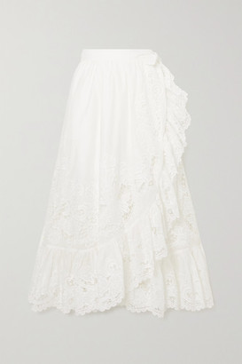 Zimmermann Lulu Asymmetric Ruffled Broderie Anglaise Cotton Wrap Skirt - Ivory