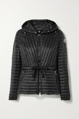 Moncler Orchidee Grosgrain-trimmed Hooded Quilted Shell Down Jacket - Black