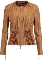 Roberto Cavalli Pleated Faux Leather Jacket