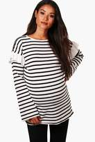 boohoo Maternity Amy Ruffle Stripe Knitted Jumper