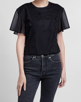 Express Lace Pieced Flutter Sleeve Top