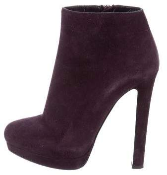 Alexander McQueen Suede Round-Toe Ankle Boots