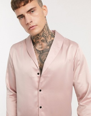 Asos Design DESIGN regular fit shirt with shawl collar in dusty pink