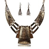 Yiwa Ladys Chunky Hollowed Carve Pattern Square Collar Statement Necklace Earrings Set