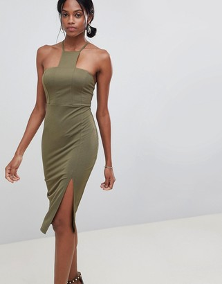 Asos Design DESIGN square neck racer neck midi dress-Green