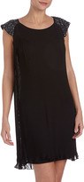 Erin Fetherston Sequined Cap-Sleeve Pleated Dress, Black Midnight